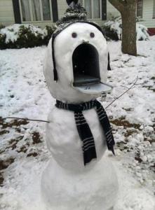 驚いた雪だるま
