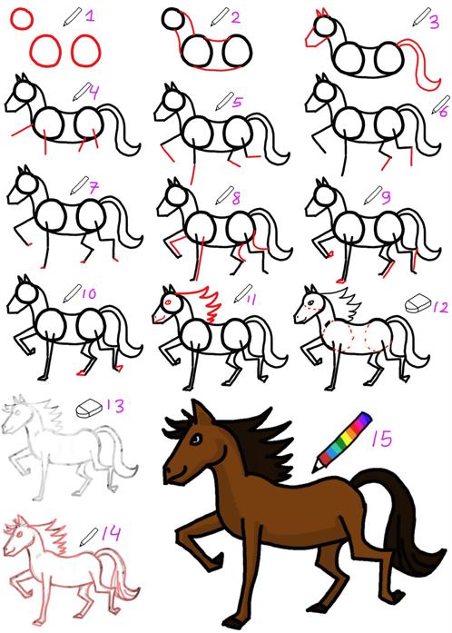走った馬の描き方
