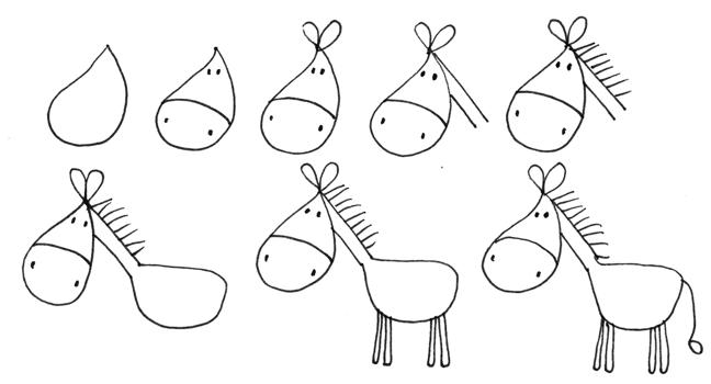 馬の手描き方法